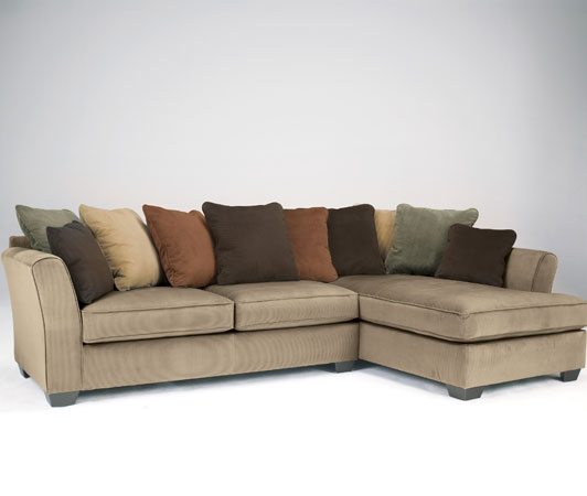 Laken mocha sectional raf chaise for Ashley mocha sectional with chaise