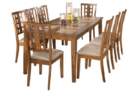 tucker tile top extension dining table with six chairs