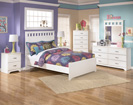 Lulu Full Panel Bed with footboard-Dresser-Mirror-Night Std