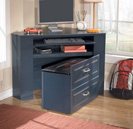 Leo Corner Desk Media Unit with Stool